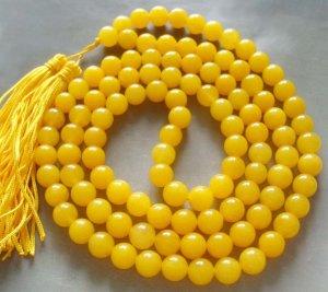 Tibet Buddhist 108 Yellow Jade Beads Prayer Mala Necklace 8mm  ZZ098