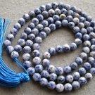 Tibet Buddhist 108 Blue Point Stone Beads Prayer Mala Necklace 8mm  ZZ111