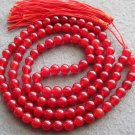 Tibet Buddhist 108 Red Stone Beads Prayer Mala Necklace 8mm  ZZ113