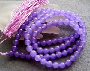 Tibet Buddhist 108 Light Purple Stone Beads Prayer Mala Necklace 8mm  ZZ118