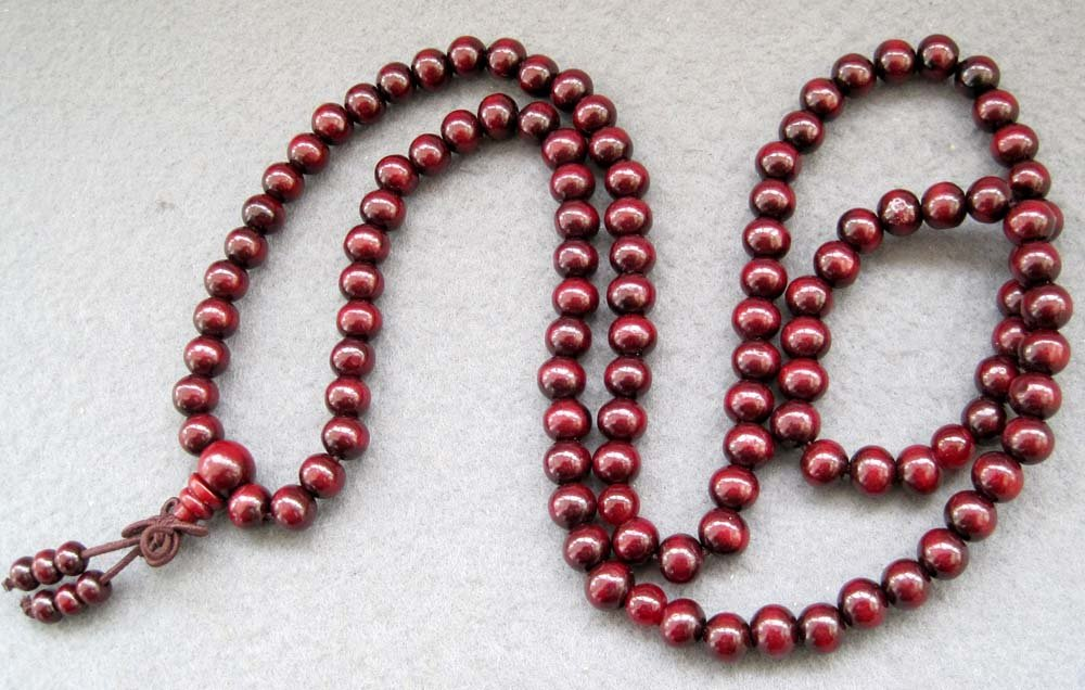 Tibet Buddhist 108 Wood Beads Prayer Mala Necklace 8mm  ZZ120