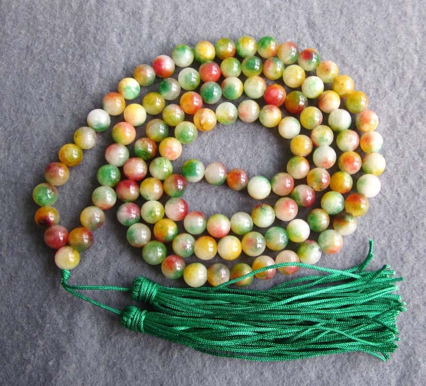 Tibet Buddhist 108 Flower Jade Beads Prayer Mala Necklace 8mm  ZZ122