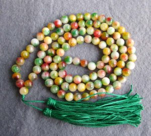 Tibet Buddhist 108 Flower Jade Beads Prayer Mala Necklace 8mm  ZZ122