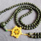 Tibet Buddhist 108 Marbling Stone Beads Prayer Mala Necklace 6mm  ZZ123