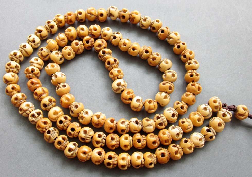 Tibet Buddhist 108 Ox Bone Skull Beads Prayer Mala Necklace  ZZ127