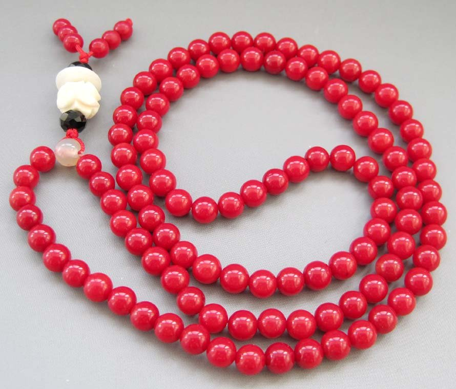 Tibet Buddhist 108 Red Coral Beads Prayer Mala Necklace  ZZ129
