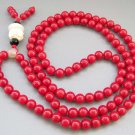 Tibet Buddhist 108 Red Coral Beads Prayer Mala Necklace  ZZ129