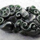 Black Green Jade Lucky Pi-Xiu Dragon Coins Amulet Pendant  TH71