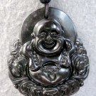 Black Green Jade Tibet Buddhist Laughing Buddha Coins Amulet Pendant  TH73
