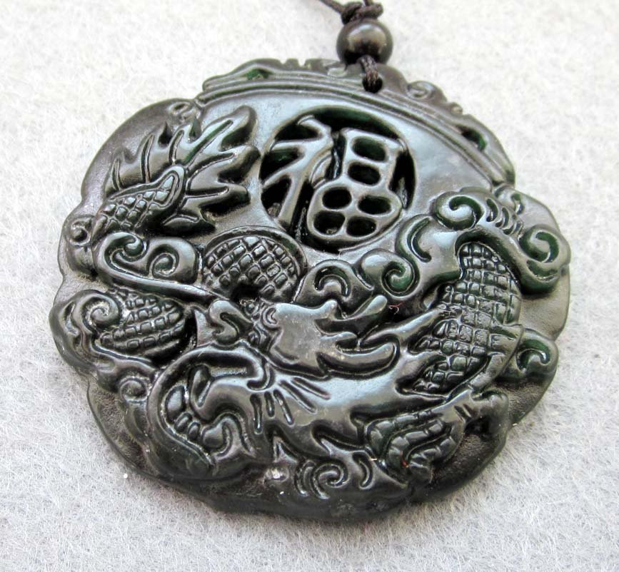 Black Green Jade Fortune FU Dragon Amulet Pendant  TH75