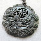 Black Green Jade Fortune FU Dragon Amulet Pendant  TH75