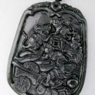 Black Green Jade Five Lucky Rats Money Amulet Pendant  TH81