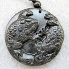 Black Green Jade Two Lucky Toads Money Amulet Pendant  TH83
