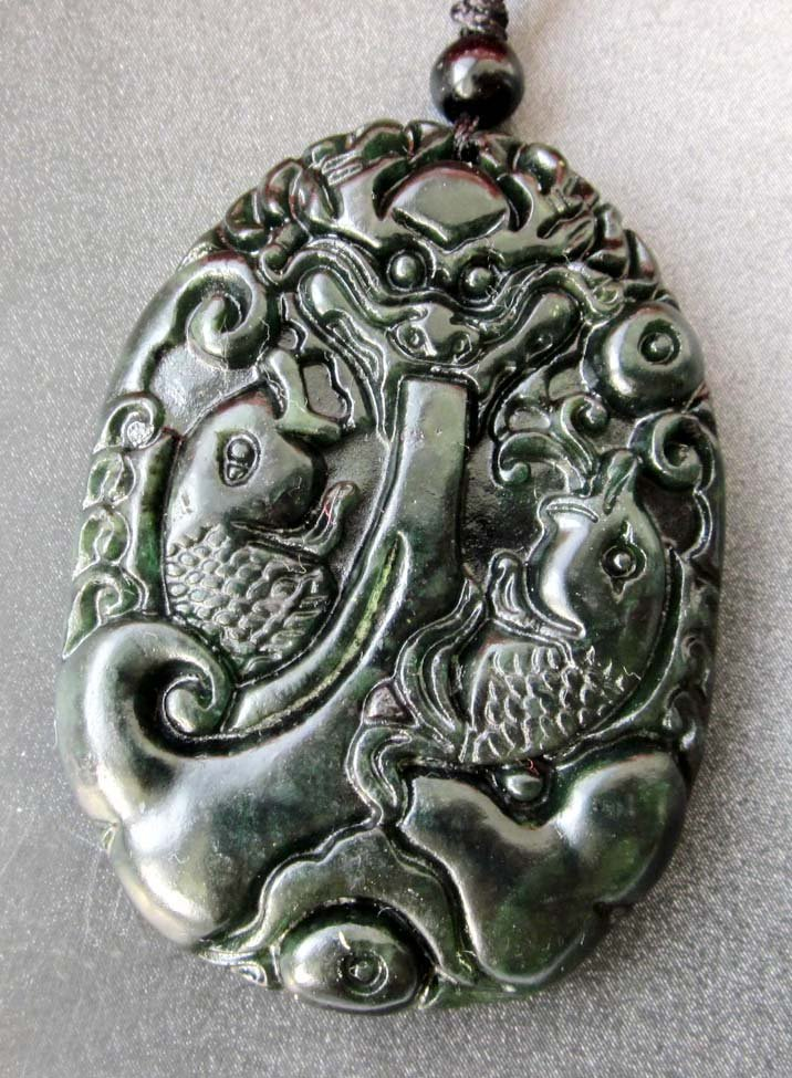 Black Green Jade Twin Fishes Dragon Spit Pearl Amulet Pendant  TH85