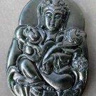 Black Green Jade Tibet Buddhist Pu-Sa Ru-Yi As You Wish Amulet Pendant  TH87