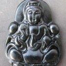 Black Green Jade Tibet Buddhist Mercy Kwan-Yin Amulet Pendant  TH89