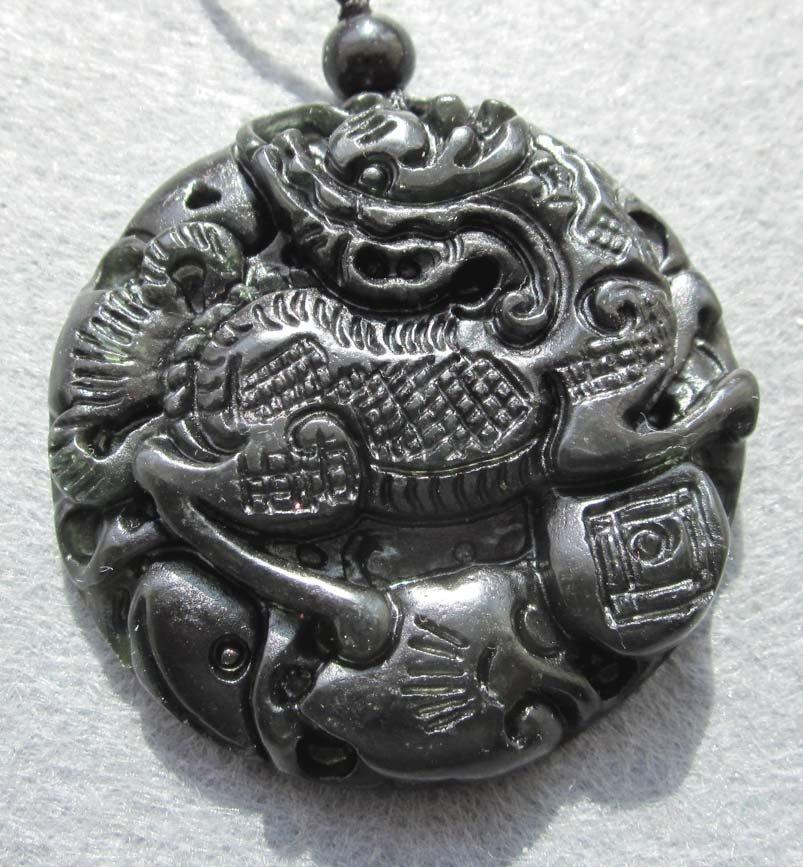 Black Green Jade Kylin Qilin Dragon Amulet Pendant  TH90