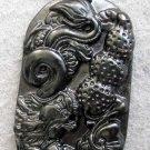 Black Green Jade Dragon Longevity Peanut Amulet Pendant  TH95