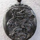 Black Green Jade Mythical Celestial Dragon Amulet Pendant  TH104