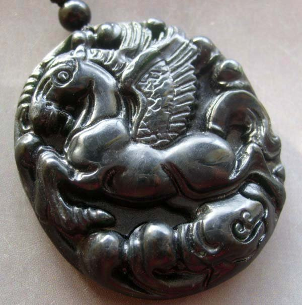 Black Green Jade Pegasus Flying Horse-Winged Amulet Pendant  TH108