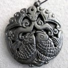 Black Jade Twin Prosperous Fishes Bat Fortune Pendant  TH110