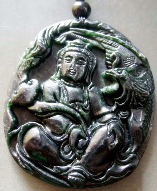 Black Green Jade Tibet Buddhist Pu-Sa Ru-Yi Phoenix Amulet Pendant  TH111