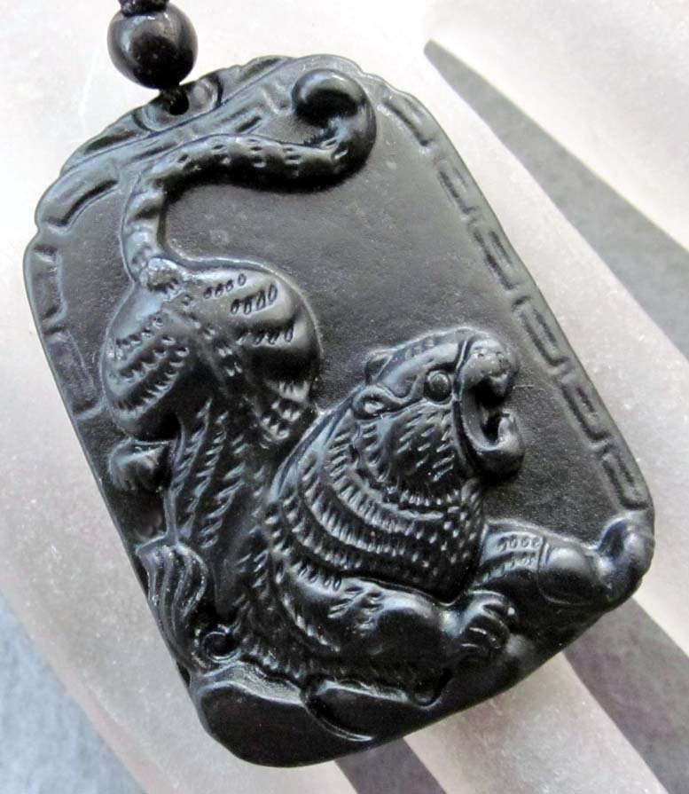 Black Green Jade Chinese Zodiac Tiger Amulet Pendant  TH116