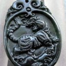 Black Green Jade Valor King Of Beasts Tiger Amulet Pendant  TH117