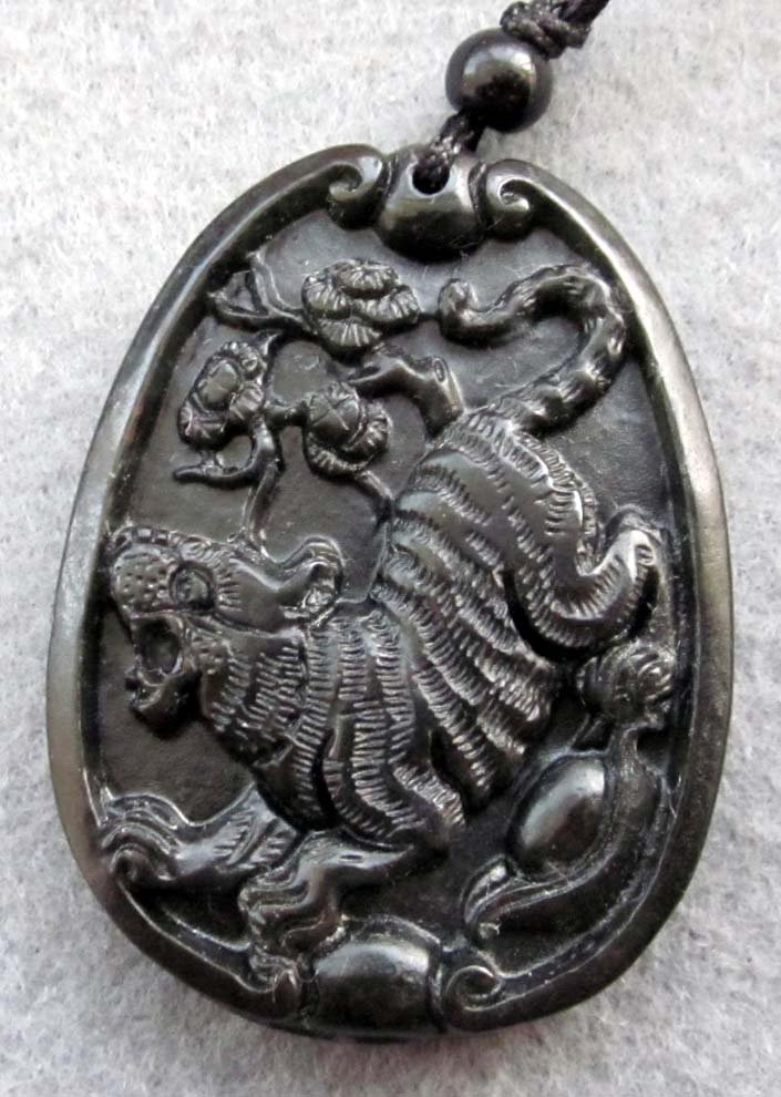Black Jade Tiger Yuanbao Tree Flower Fortune Pendant  TH119