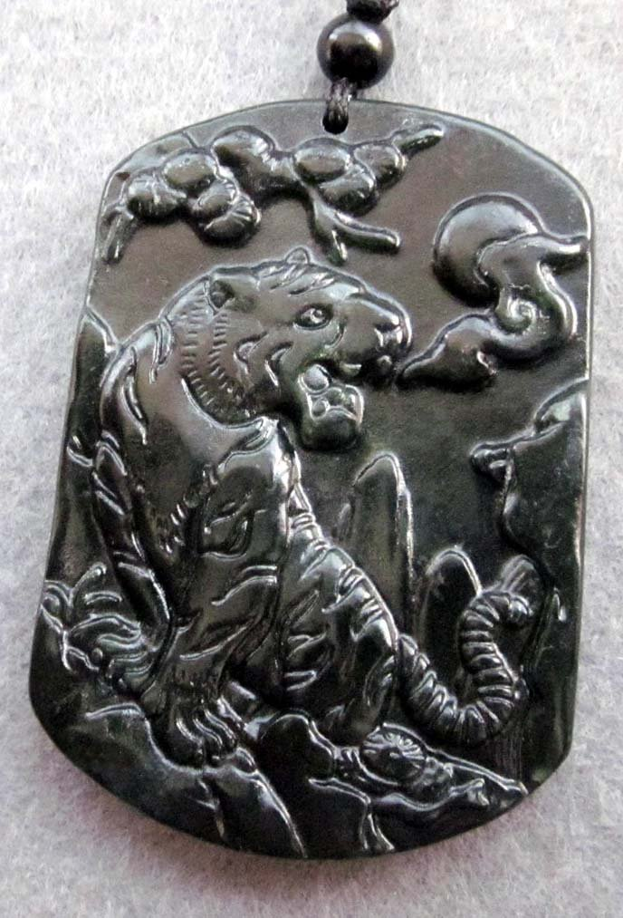 Black Green Jade Tiger Lucky Cloud Montain Amulet Pendant  TH136