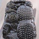 Black Green Jade Prosperous Peanut Coin Fortune Pendant  TH139
