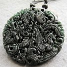 Black Green Jade Dragon Phoenix Love Pair Amulet Pendant  TH146