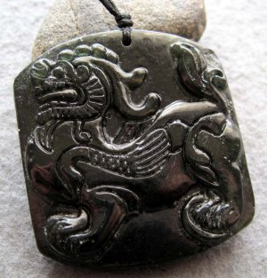 Black Green Jade Pi-Xiu Dragon Amulet Pendant  TH148