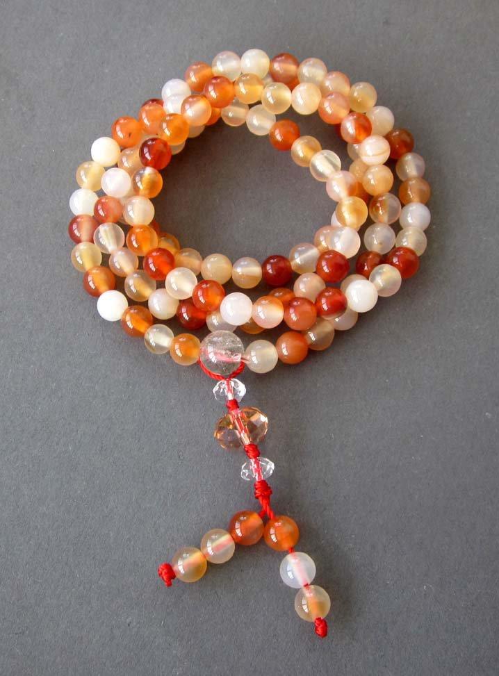 6mm 108 Agate Gem Tibetan Buddhist Prayer Mala Bracelet Necklace  ZZ132