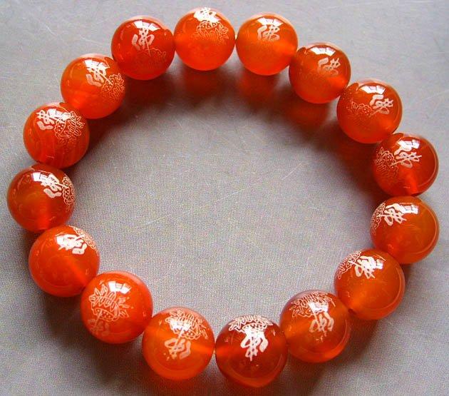 10mm Red Agate Beads Tibetan Buddhist Prayer Mala Bracelet FO Lotus  T0013