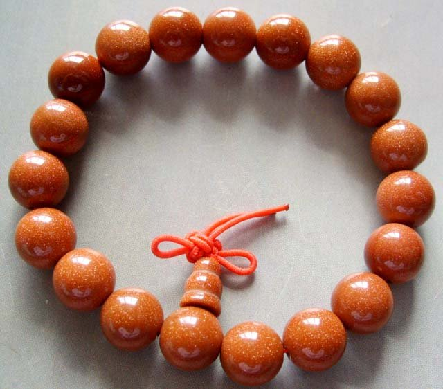 10mm Tibetan 19 Energy Goldstone Gem Beads Prayer Mala Bracelet Wrist  T0018