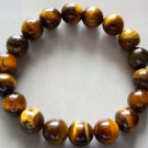 10mm Tiger Eye Gem Sphere Beads Tibetan Buddhist Prayer Mala Bracelet  T0019