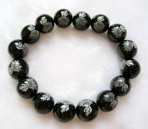 Black Onyx Agate Beads Tibet Buddhist Prayer Mala Bracelet FO Lotus  T0028