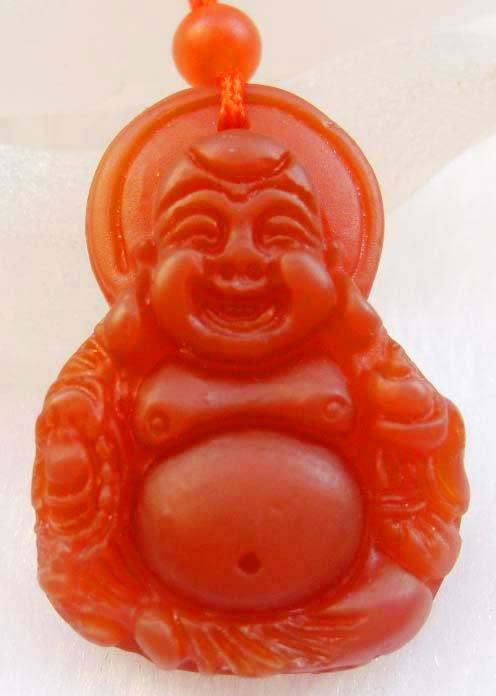 Red Agate Gem Tibet Buddhist Lucky Happy Buddha Amulet Pendant  T0045