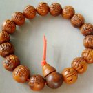 12mm Wood Carved Word FO Buddha Beads Buddhist Prayer Mala Bracelet Wrist  T0057