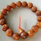 12mm Wood Carved Word FO Buddha Beads Buddhist Prayer Mala Bracelet Wrist  T0057