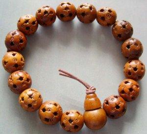 12mm Wood Lu-Lu Tong All The Way Open Bead Budhist Prayer Mala Bracelet  T0058