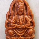 Goldstone Gem Tibetan Buddhist Mercy Kwan-Yin Goddess Amulet Pendant 34mm*20mm  T0130
