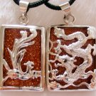 Goldstone Gem Alloy Metal Dragon Phoenix For Lover Pair Amulet Pendant  T0132