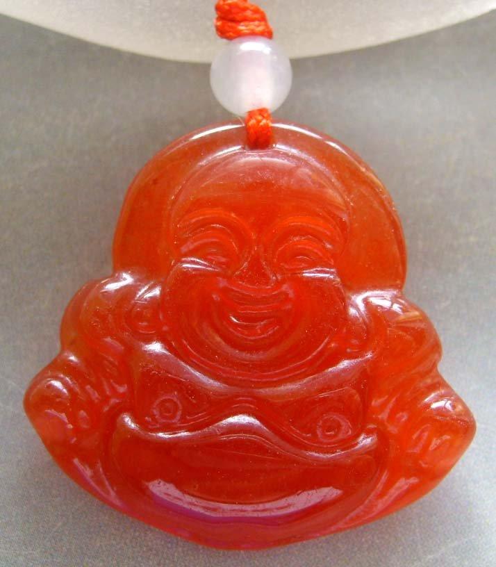 Red Agate Gem Tibet Buddhist Laughing Buddha Amulet Pendant 30mm*28mm  T0140