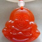 Red Agate Gem Tibet Buddhist Laughing Buddha Amulet Pendant 30mm*28mm  T0140