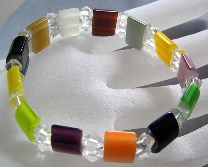 Multi-Color Cat Eye Gem Crystal Quartz Beads Elastic Bracelet  T0245
