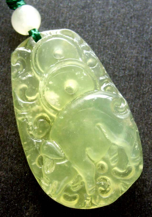 Light Green Jade Fortune Zodiac Pig Amulet Pendant 33mm*20mm  T0256R