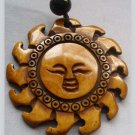 Ox Bone Carved God Of Sun Face Pendant Necklace 35mm*35mm  T0278