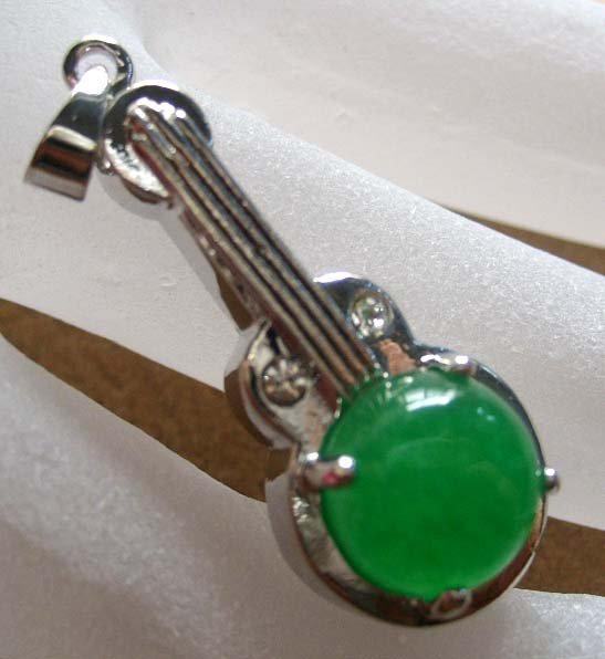 Green Jade Alloy Metal Musical Instrument Pendant 30mm*12mm  T0294
